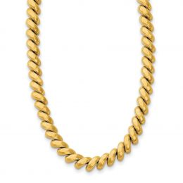 """14K Yellow Gold 6 MM Polished San Marco Necklace, 16"""""""