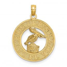 14K Yellow Gold Lauderdale-By-The-Sea, FL On Round Frame With Pelican Charm Pendant
