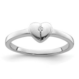 925 Sterling Silver Children's CZ Heart Ring, Size 3