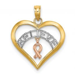 14K Tri Color Gold Believe In Heart With Breast Cancer Ribbon