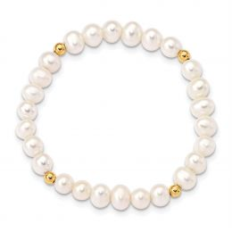 14K Yellow Gold Madi K 4-5MM White Egg Shape Freshwater Cultured Pearl and Beads Stretch Bracelet