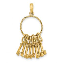 14K Yellow Gold 3D Moveable I Love You Key Chain Charm Pendant