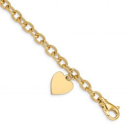 """14K Yellow Gold 6 MM with Heart Charm Bracelet, 7.5"""""""