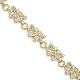 """14K White And Yellow Gold 8 MM Butterfly Bracelet, 7"""""""
