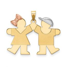 14k Tri Color Gold Small Girl on Left And Boy on Right Engravable Charm Pendant
