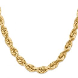 14K Yellow Gold 10 MM Diamond-Cut Rope Link Chain Necklace
