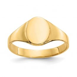14K Yellow Gold Baby and Children Oval Signet Ring, Size 1