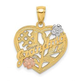 14K Tri Color Gold #1 Grandma On Heart With Flower Charm Pendant