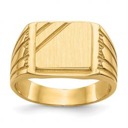 14K Yellow Gold 12 MM Men's Engravable Square Signet Ring, Size 10