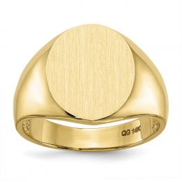 14K Yellow Gold 15 MM Men's Oval Engravable Signet Ring, Size 10