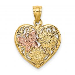 14K Two Tone Gold 3-D Heart With Butterfly Reversible Charm Pendant