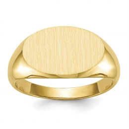 14K Yellow Gold 10 MM Men's Oval Engravable Signet Ring, Size 10
