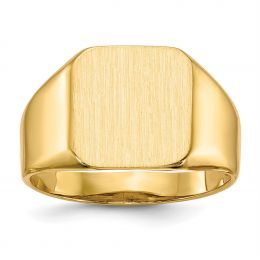 14K Yellow Gold 13.2 MM Men's Square Engravable Signet Ring, Size 10
