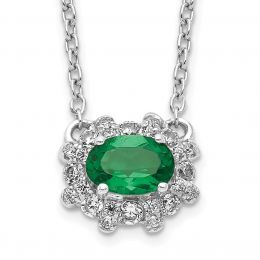 """14K White Gold Diamond and Emerald Necklace, 18"""" (0.20CTW)"""