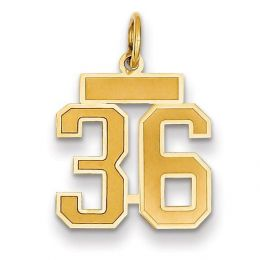 14K Yellow Gold Small Satin Number 36 Charm Pendant