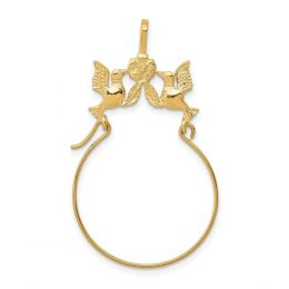 14K Yellow Gold Doves and Bow Charm Holder Pendant