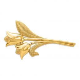 14K Yellow Gold Satin and Polished Tulips Pin Brooch