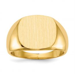 14K Yellow Gold 15.2 MM Men's Square Engravable Signet Ring, Size 10