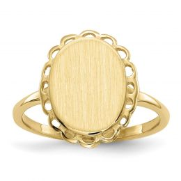 14K Yellow Gold 3 MM Oval Engravable Signet Ring, Size 6