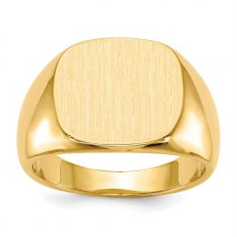 14K Yellow Gold 15 MM Men's Square Engravable Signet Ring, Size 10