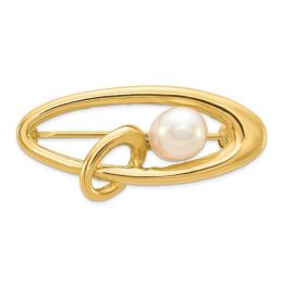 14K Yellow Gold 5-6MM White Rice Freshwater Cultured Pearl Pin Brooch
