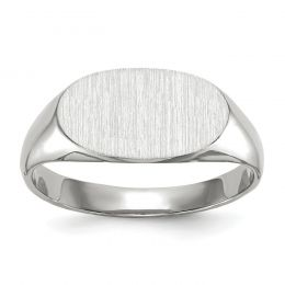 14K White Gold 7.4 MM Oval Engravable Signet Ring, Size 6