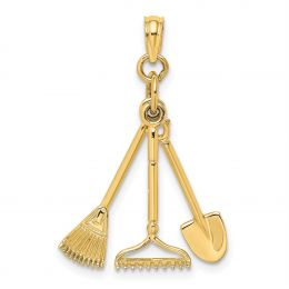 14K Yellow Gold 3-D Moveable Garden Tool Collection Charm Pendant