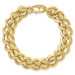 14K Yellow Gold Polished and Textured Fancy Bracelet