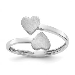 14K White Gold Baby and Children Signet Double Heart Ring, Size 4