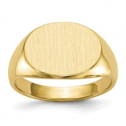 14K Yellow Gold 12 MM Men's Oval Engravable Signet Ring, Size 10
