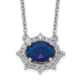 """14K White Gold Diamond and Sapphire Necklace, 18"""" (0.35CTW)"""