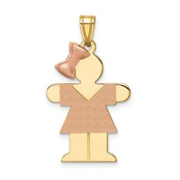 14K Two Tone Gold Large Girl Hugs with Bow on Left Engravable Charm Pendant