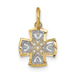 14K Two Tone Gold Hearts In Cross Charm Pendant