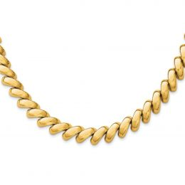 """14K Yellow Gold 12 MM Polished San Marco Necklace, 17"""""""