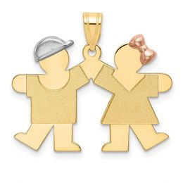 14k Tri Color Gold Small Boy on Left And Girl on Right Engravable Charm Pendant