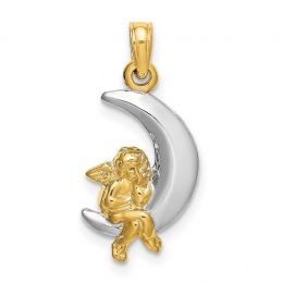 14K Two Tone Gold 3-D Angel On Moon Charm Pendant