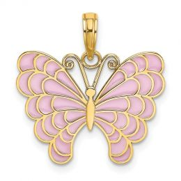 14K Yellow Gold Butterfly With Lavender Stained Glass Wings Charm Pendant