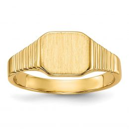 14K Yellow Gold Baby and Children Signet Ring, Size 2