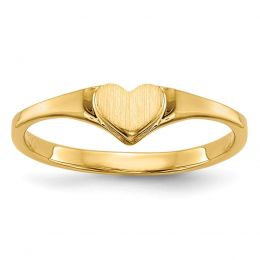 14K Yellow Gold Baby and Children Signet Heart Ring, Size 3