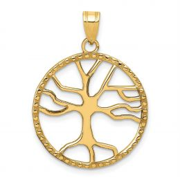14K Yellow Gold Tree of Life in Round Frame Charm Pendant