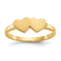 14K Yellow Gold 2 MM Double Heart Engravable Signet Ring, Size 5.5