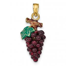 14K Yellow Gold 3-D Enamel Purple Grapes With Stem And Leaf Charm Pendant