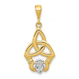 14K Two Tone Gold Claddagh Charm Pendant