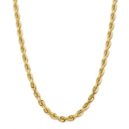 14K Yellow Gold 7 MM Diamond-Cut Rope Link Chain Necklace