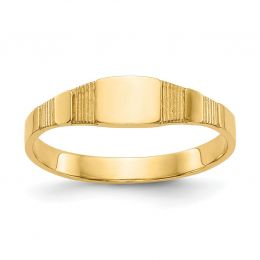 14K Yellow Gold Baby and Children Signet Ring, Size 1.75