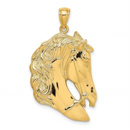 14K Yellow Gold Horse Head Profile With Long Mane Charm Pendant