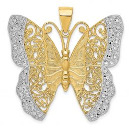 14K Two Tone Gold Filigree Butterfly Charm Pendant