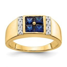 14K Yellow Gold Created Sapphire and Men's Diamond Ring, Size 10 (0.01CTW)
