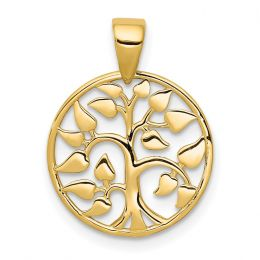 14K Yellow Gold Tree of Life in Circle Charm Pendant