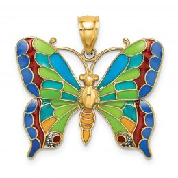 14K Yellow Gold Enameled Butterfly Charm Pendant